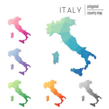 Set di vettore poligonale Italia mappe. Mappa di gradiente luminoso di paese in stile basso poli. Mappa multicolore Italia in stile geometrico per le tue infografie. Archivio Fotografico - 85036520