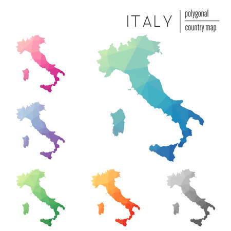 Set of vector polygonal Italy maps. Bright gradient map of country in low poly style. Multicolored Italy map in geometric style for your infographics.