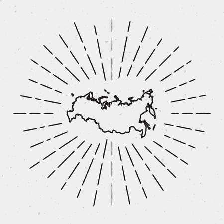 Vector Russian Federation Map Outline with Retro Sunburst Border. Black Radiant Light Rays on White Background.