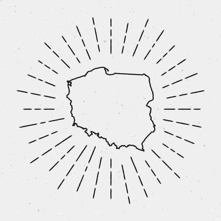 Retro Sunburst Hipster Design. Poland Map Surrounded by Vintage Sunburst Rays. Trendy Hand Drawn Sun Rays Black Element on White Background.