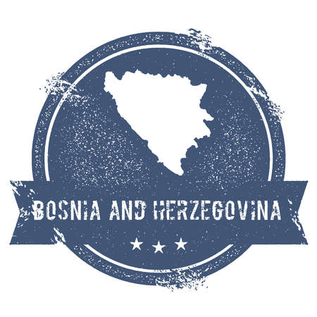 herz: Bosnia and Herzegovina mark. Travel rubber stamp with the name and map of Bosnia and Herzegovina, vector illustration. Can be used as insignia, logotype, label, sticker or badge of the country.