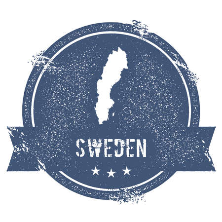 Sweden mark. Travel rubber stamp with the name and map of Sweden, vector illustration. Can be used as insignia, logotype, label, sticker or badge of the country. Illustration