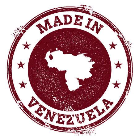 Venezuela, Bolivarian Republic of vector seal. Vintage country map stamp. Grunge rubber stamp with Made in Venezuela, Bolivarian Republic of text and map, vector illustration.