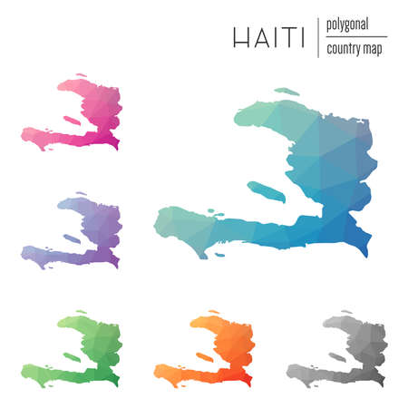 deltoid: Set of vector polygonal Haiti maps. Multicolored Haiti map in geometric style for your infographics.