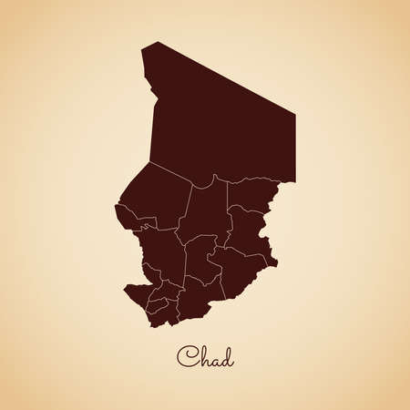 Chad region map: retro style brown outline on old paper background. Detailed map of Chad regions. Vector illustration. Иллюстрация