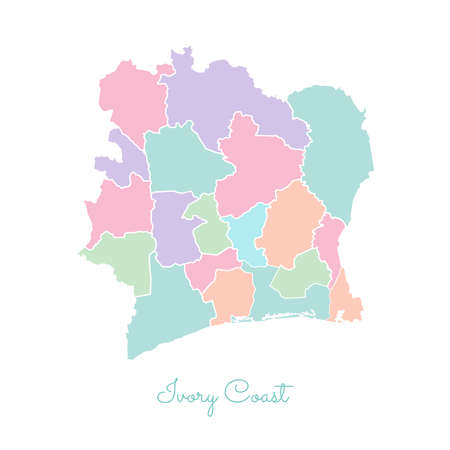 Ivory Coast region map: colorful with white outline. Detailed map of Ivory Coast regions. Vector illustration.