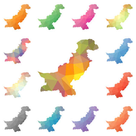 Pakistan geometric polygonal, mosaic style maps collection. Bright abstract tessellation, low poly style, modern design. Pakistan polygonal maps for your infographics or presentation. Illustration