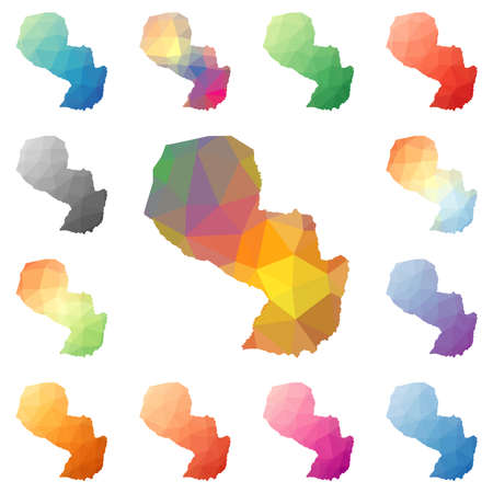 pyramidal: Paraguay geometric polygonal, mosaic style maps collection. Bright abstract tessellation, low poly style, modern design. Paraguay polygonal maps for your infographics or presentation.