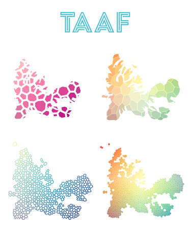 francais: TAAF polygonal map. Mosaic style maps collection. Bright abstract tessellation, geometric, low poly, modern design. TAAF polygonal maps for infographics or presentation. Illustration