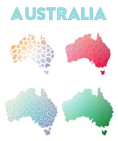 Set of Australia map icon.