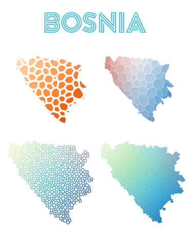 herz: Set of Bosnia map icon. Illustration
