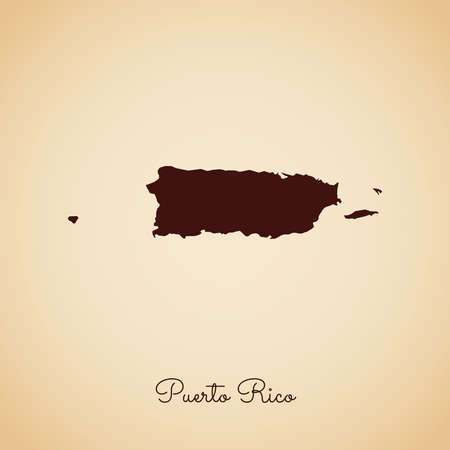 Puerto Rico region map: retro style brown outline on old paper background. Detailed map of Puerto Rico regions. Vector illustration.