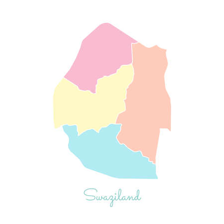 Swaziland region map: colorful with white outline. Detailed map of Swaziland regions. Vector illustration.