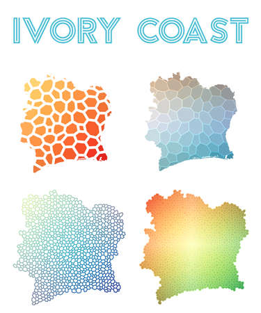 Ivory Coast polygonal map. Mosaic style maps collection. Bright abstract tessellation, geometric, low poly, modern design. Ivory Coast polygonal maps for infographics or presentation.