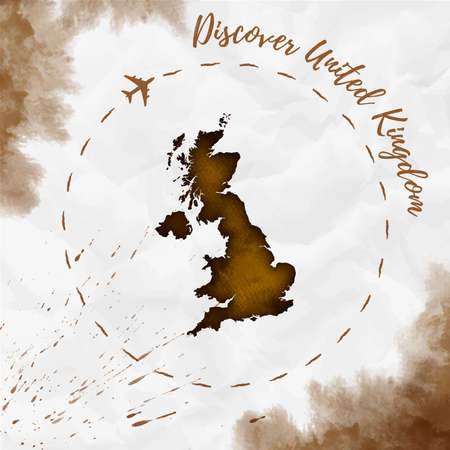 United Kingdom watercolor map in sepia colors.