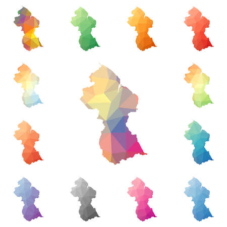 Guyana geometric polygonal, mosaic style maps collection. Bright abstract tessellation, low poly style, modern design. Guyana polygonal maps for your infographics or presentation.
