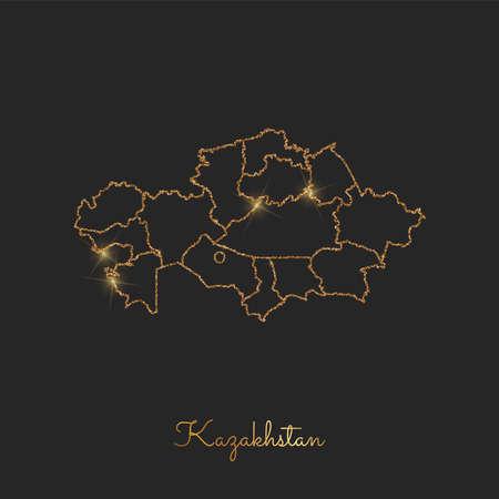 カザフスタン地域マップ: 暗い背景に輝く星と黄金の輝きの概要。カザフスタン地域の詳細地図。ベクトルの図。