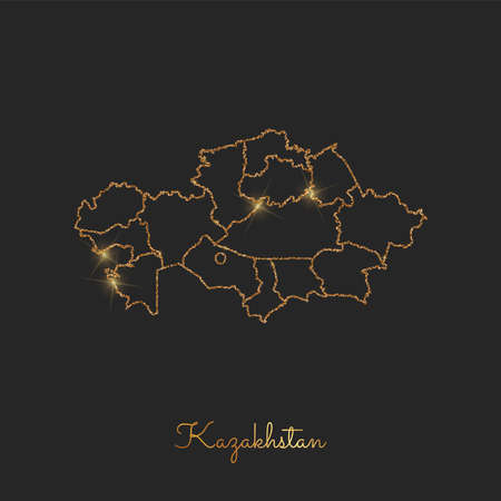 Kazakhstan region map: golden glitter outline with sparkling stars on dark background. Detailed map of Kazakhstan regions. Vector illustration.