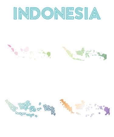 Indonesia polygonal map.