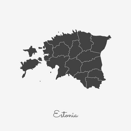 Estonia region map: grey outline on white background. Detailed map of Estonia regions. Vector illustration.