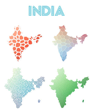 India polygonal map. Mosaic style maps collection. Bright abstract tessellation, geometric, low poly, modern design.