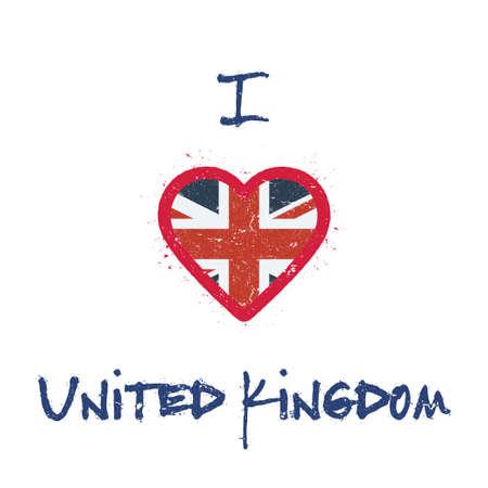 イギリスの t シャツのデザインが大好きです。英国の旗の白い背景の上のハートの形で。グランジ ベクトル イラスト。