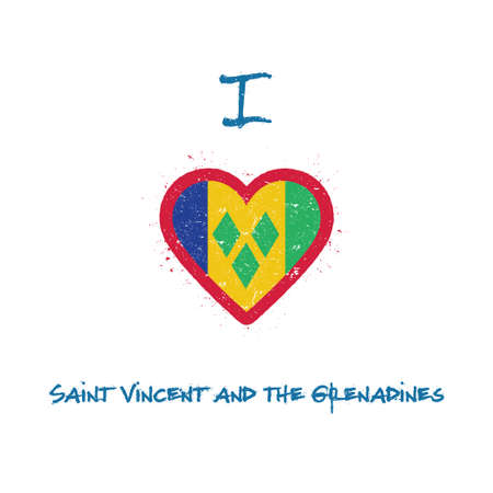 I love Saint Vincent And The Grenadines t-shirt design. Saint Vincentian flag in the shape of heart on white background. Grunge vector illustration.