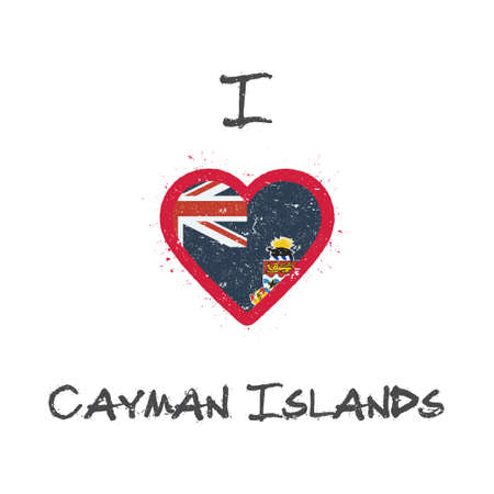 I love Cayman Islands t-shirt design. Caymanian flag in the shape of heart on white background. Grunge vector illustration.