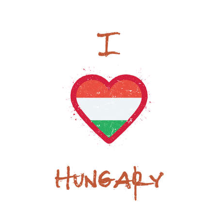 I love Hungary t-shirt design. Hungarian flag in the shape of heart on white background. Grunge vector illustration. Illustration