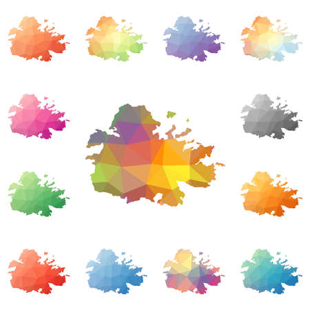 Antigua geometric polygonal, mosaic style island maps collection. Bright abstract tessellation, low poly style, modern design. Antigua polygonal maps for your infographics or presentation. Illustration