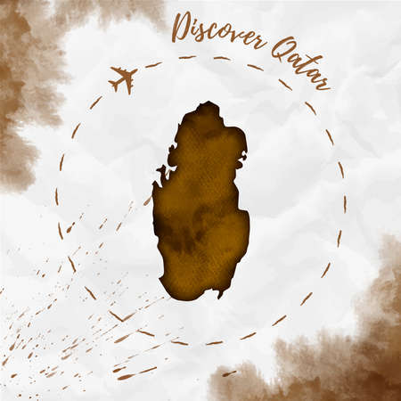 Qatar watercolor map in sepia colors. Discover Qatar poster with airplane trace and handpainted watercolor Qatar map on crumpled paper. Vector illustration. Illustration