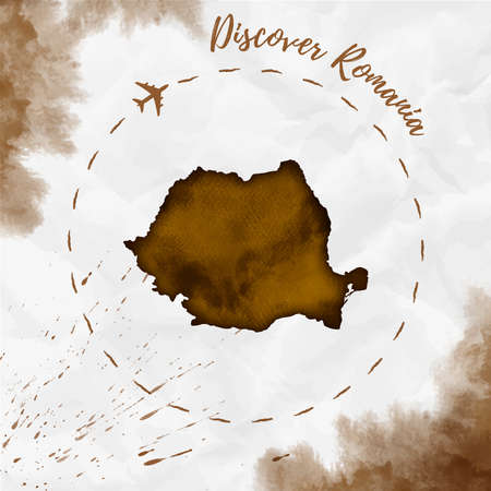 rom: Romania watercolor map in sepia colors. Discover Romania poster with airplane trace and handpainted watercolor Romania map on crumpled paper. Vector illustration.