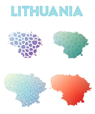 Lithuania polygonal map. Mosaic style maps collection. Bright abstract tessellation, geometric, low poly, modern design. Lithuania polygonal maps for infographics or presentation.