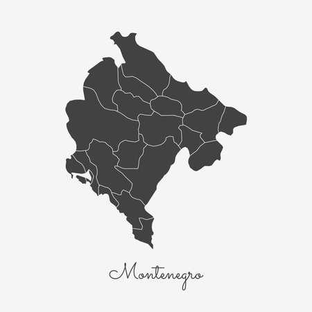 Kaart van Montenegro: grijs overzicht op witte achtergrond. Gedetailleerde kaart van regio's van Montenegro. Vector illustratie. Stock Illustratie