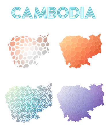 Cambodia polygonal map. Mosaic style maps collection. Bright abstract tessellation, geometric, low poly, modern design. Cambodia polygonal maps for infographics or presentation. Illustration