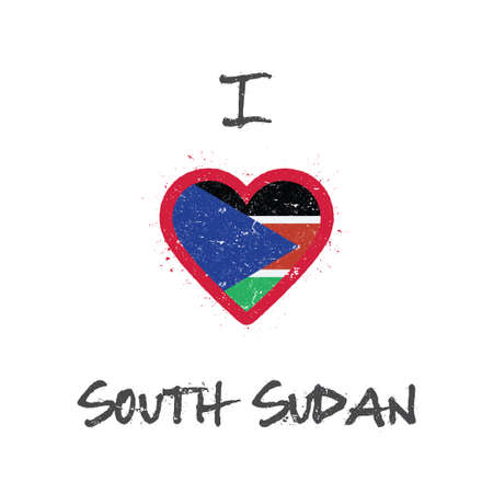 I love South Sudan t-shirt design. South Sudanese flag in the shape of heart on white background.