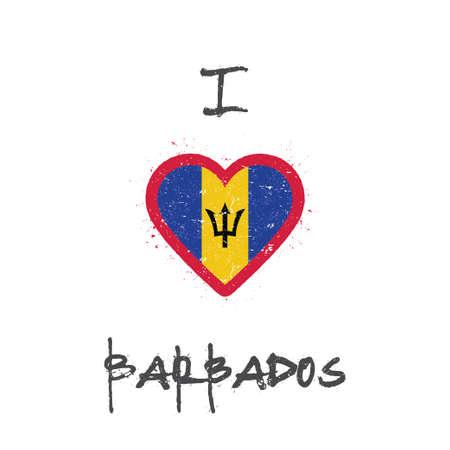 I love Barbados t-shirt design. Barbadian flag in the shape of heart on white background. Grunge vector illustration.