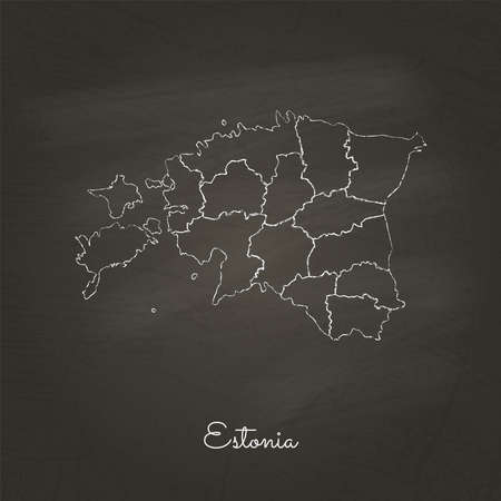 Estonia region map: hand drawn with white chalk on school blackboard texture. Detailed map of Estonia regions. Vector illustration. Çizim
