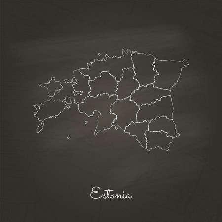 Het gebied van Estland kaart: hand met wit krijt op de textuur van het schoolbord dat wordt getrokken. Gedetailleerde kaart van de regio's van Estland. Vector illustratie. Stock Illustratie