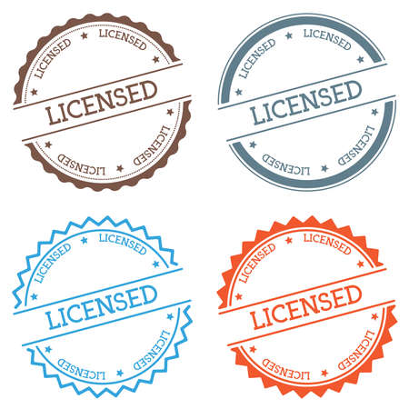 Licensed badge isolated on white background. Flat style round label with text. Circular emblem vector illustration.