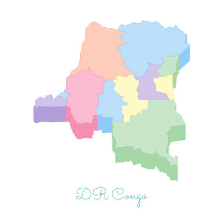 DR Congo region map: colorful isometric top view. Detailed map of DR Congo regions. Vector illustration.