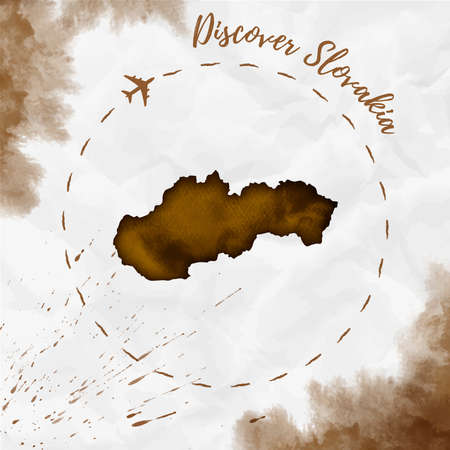 Slovakia watercolor map in sepia colors. Discover Slovakia poster with airplane trace and handpainted watercolor Slovakia map on crumpled paper. Vector illustration. Illustration
