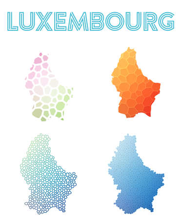 Luxembourg polygonal map. Mosaic style maps collection. Bright abstract tessellation, geometric, low poly, modern design. Luxembourg polygonal maps for infographics or presentation.