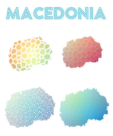 Macedonia polygonal map. Mosaic style maps collection. Bright abstract tessellation, geometric, low poly, modern design. Macedonia polygonal maps for infographics or presentation. Illustration