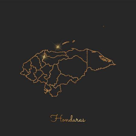 Honduras region map: golden glitter outline with sparkling stars on dark background. Detailed map of Honduras regions. Vector illustration.