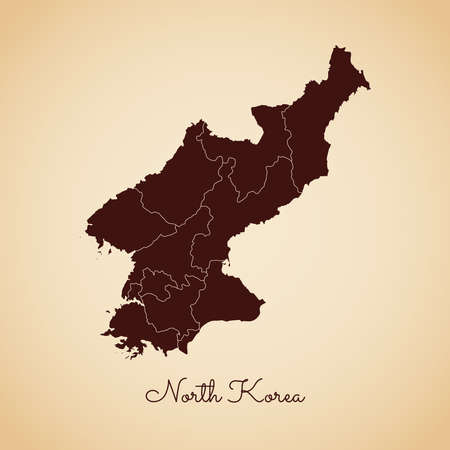 North Korea region map: retro style brown outline on old paper background. Detailed map of North Korea regions. Vector illustration.