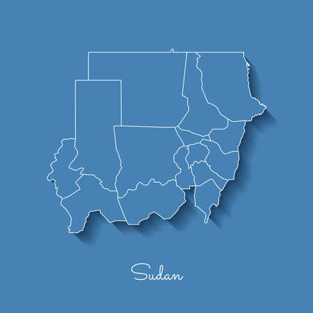 Sudan region map: blue with white outline and shadow on blue background. Detailed map of Sudan regions. Vector illustration. Illustration