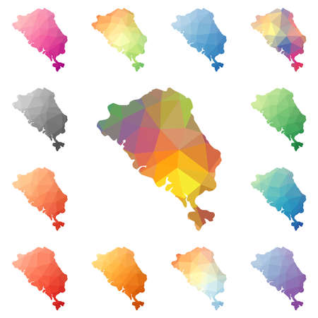 Colon Island geometric polygonal, mosaic style island maps collection. Bright abstract tessellation, low poly style, modern design. Colon Island polygonal maps for your infographics or presentation. Illustration