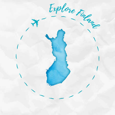 Finland watercolor map in turquoise colors. Explore Finland poster with airplane trace and handpainted watercolor Finland map on crumpled paper. Vector illustration.