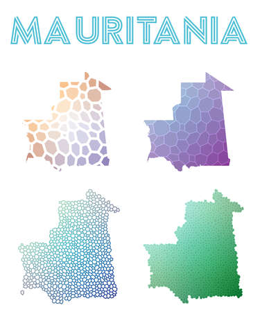 Mauritania polygonal map. Mosaic style maps collection. Bright abstract tessellation, geometric, low poly, modern design. Mauritania polygonal maps for infographics or presentation. Illustration